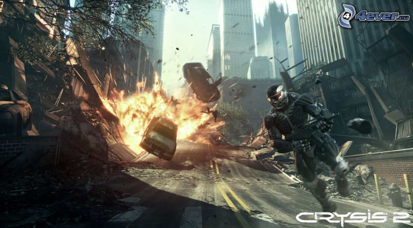 Crysis 2, explosion, soldier