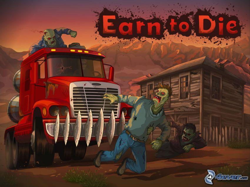 Earn to Die, zombie, truck