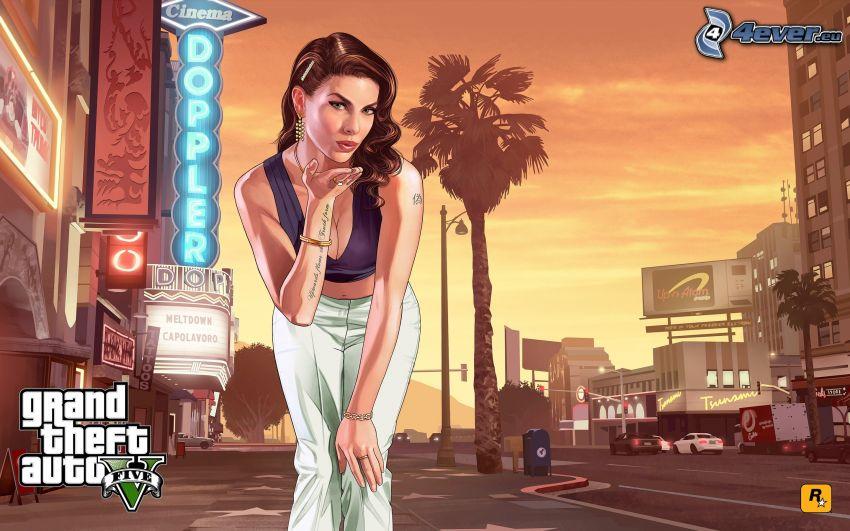 Grand Theft Auto V, cartoon woman, street
