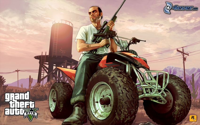 GTA 5, quad, man with a gun