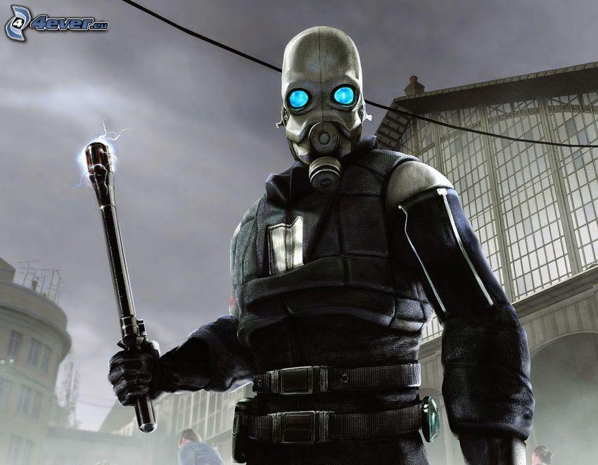 Half-Life 2, warrior, gas mask, torch