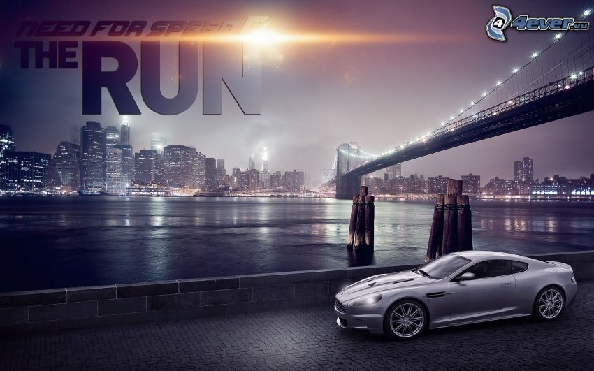 Need For Speed, Aston Martin, bridge, night city, Brooklyn Bridge