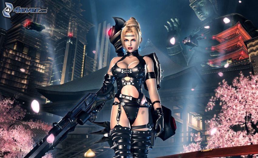 Ninja Gaiden 2, woman with a gun