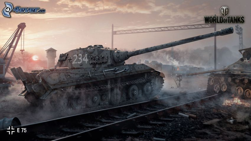 Tiger 2, World of Tanks, tank, rails