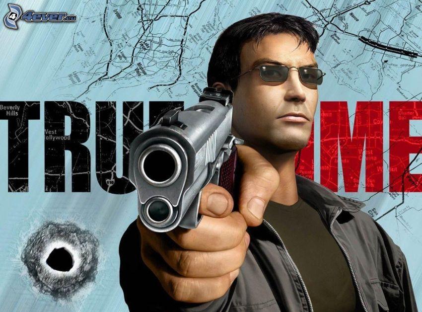True Crime, man with a gun, sunglasses, hole