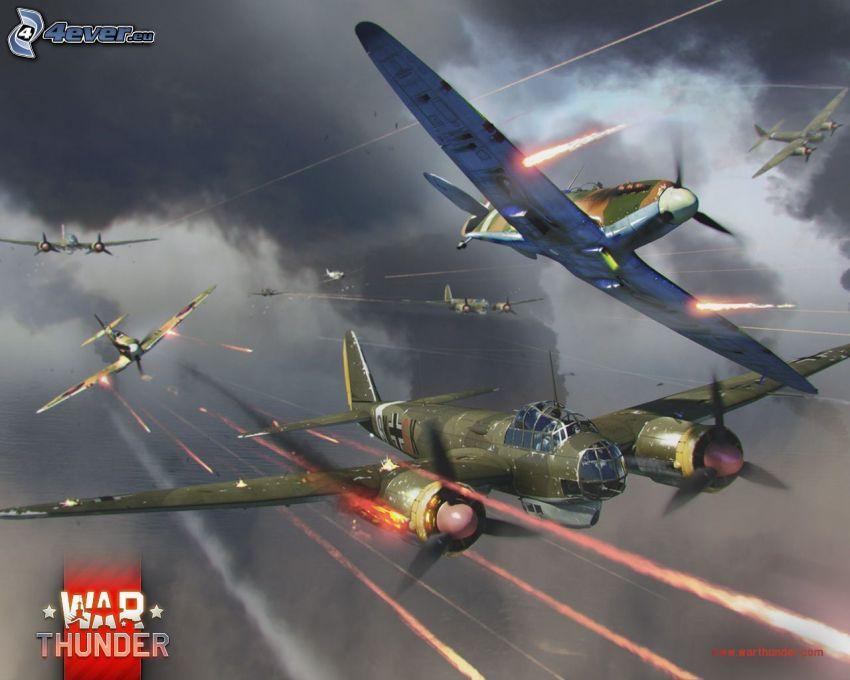War Thunder, airplanes, shooting