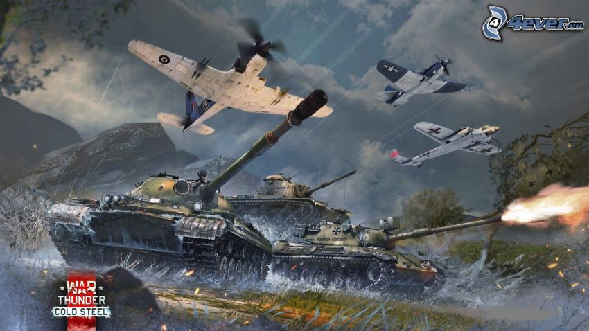 War Thunder, airplanes, tanks, shooting