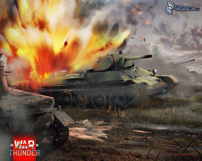 War Thunder, tanks, explosion