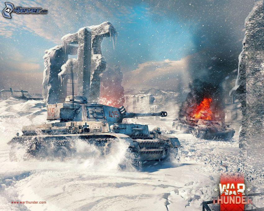 War Thunder, tanks, fight, snow