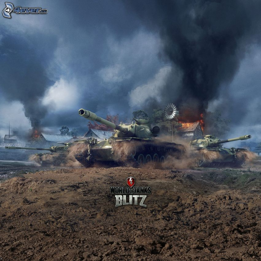 World of Tanks, fight, dark clouds