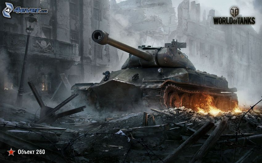 World of Tanks, ruined city, tank