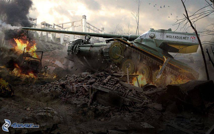 World of Tanks, tank, fire