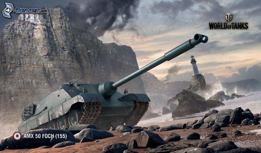World of Tanks, tank, lighthouse, coastal reefs