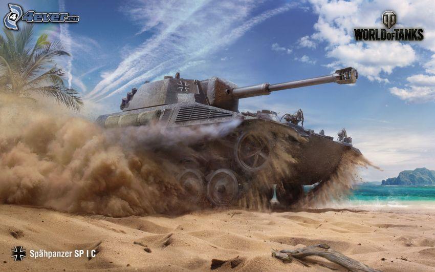 World of Tanks, tank, sandy beach, sea, palm tree
