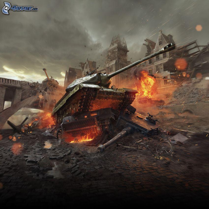 World of Tanks, tank, street, fight