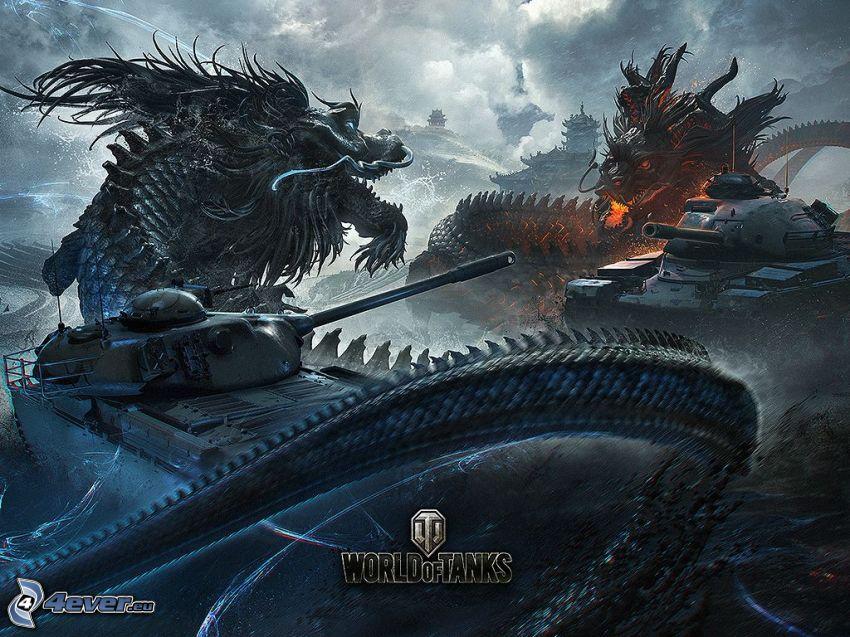 World of Tanks, tanks, dragons