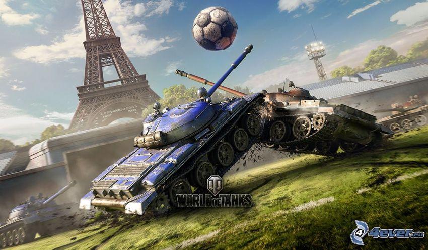 World of Tanks, tanks, soccer, soccer ball, Eiffel Tower