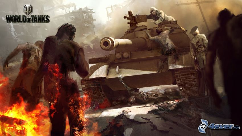 World of Tanks, zombie, fire, tank