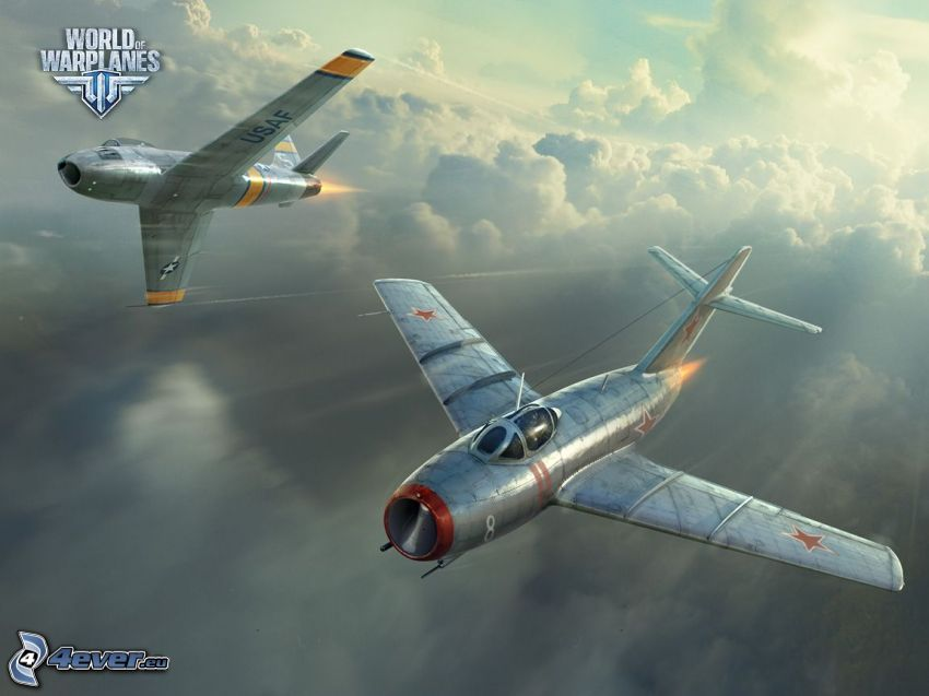 World of warplanes, airplanes, over the clouds, speed