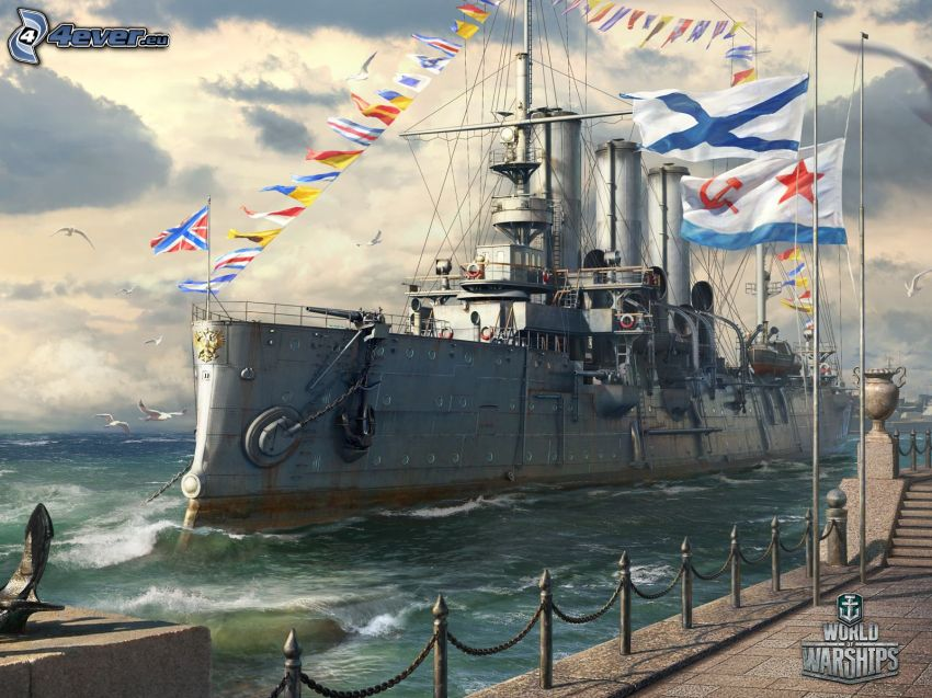 World of Warships, harbor, flags