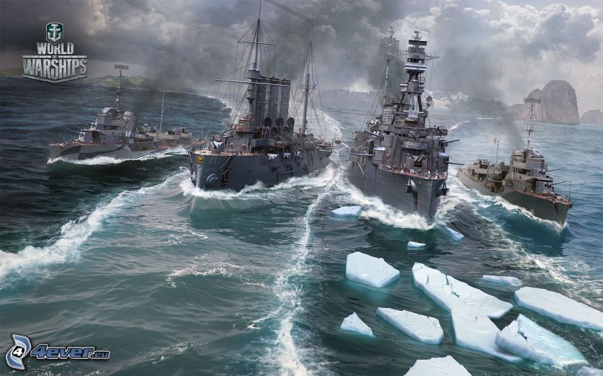 World of Warships, ships, ice floe