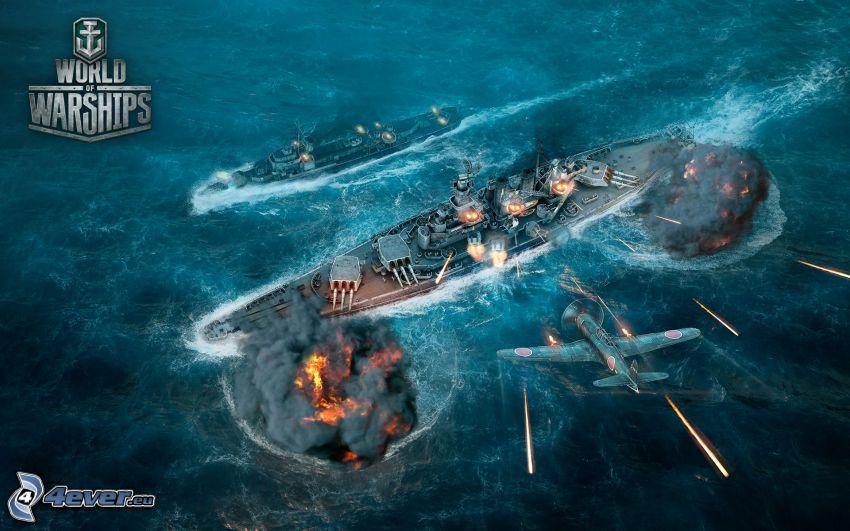 World of Warships, ships, shooting, aircraft, sea, fight