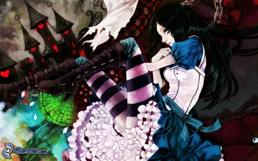 Alice Madness Returns, anime girl, castle