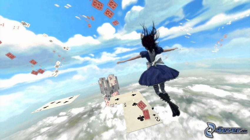 Alice Madness Returns, cards, clouds
