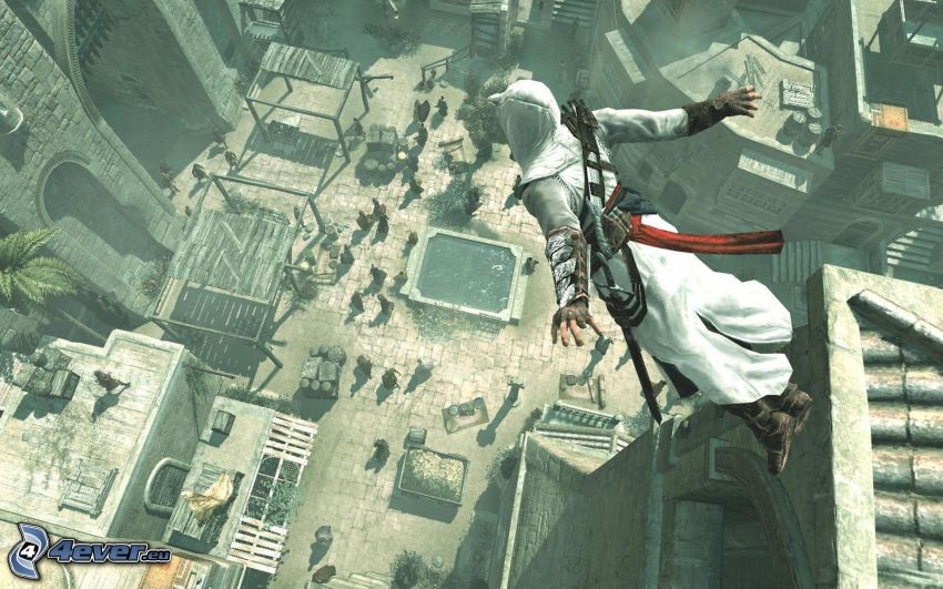 Assassin's Creed, market, BASE Jump