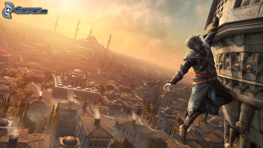 Assassin's Creed, sunset over a city