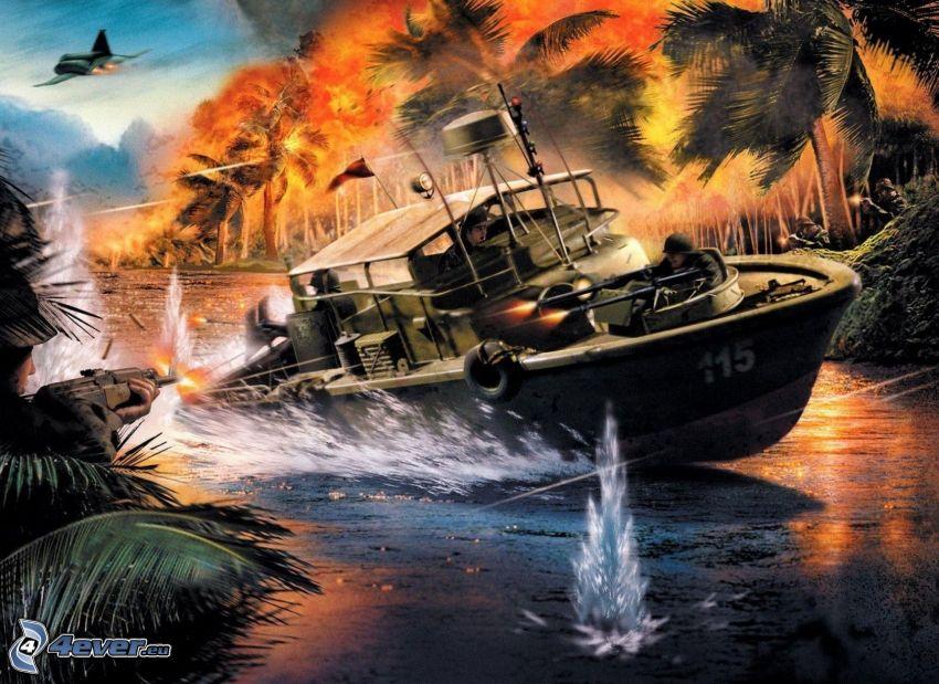 Battlefield 2, boat, soldier, shooting