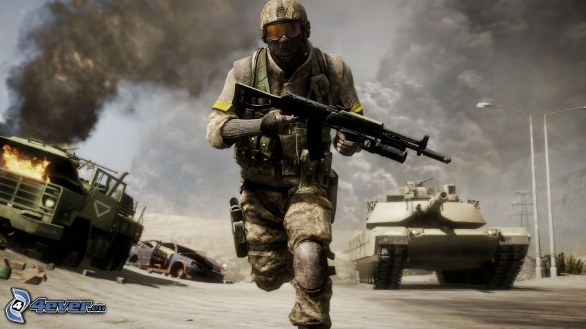 Battlefield: Bad Company 2, soldier with a gun, M1 Abrams