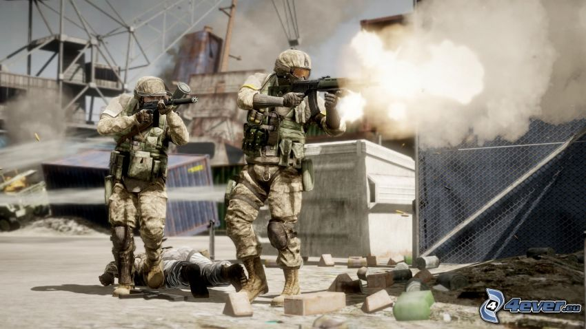 Battlefield: Bad Company 2, soldiers, shooting