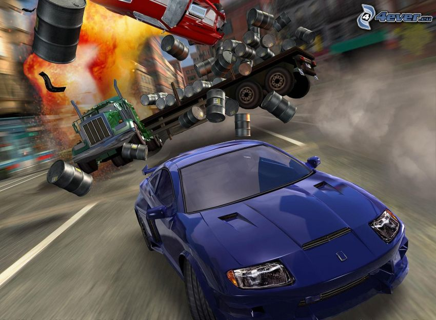 Burnout 3: Takedown, accident, truck