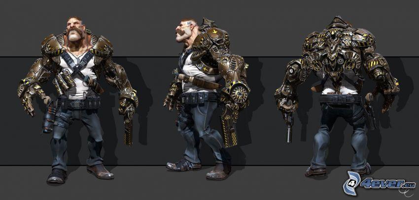 cartoon character, warrior