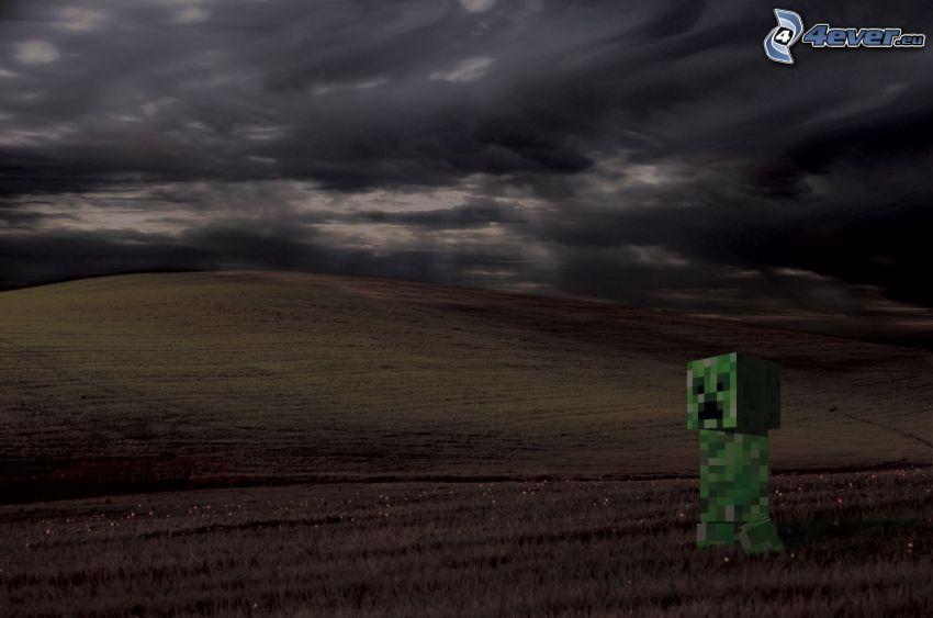 Creeper, Minecraft, field, dark sky
