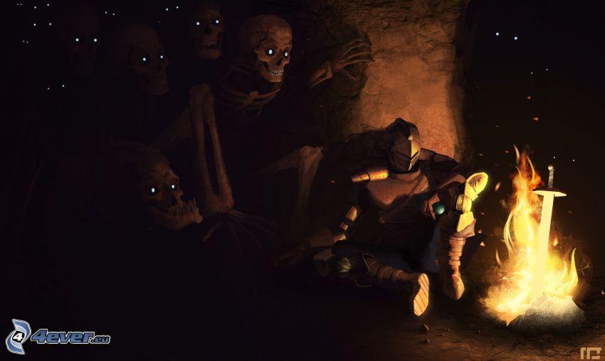 Dark Souls, knight, skeletons