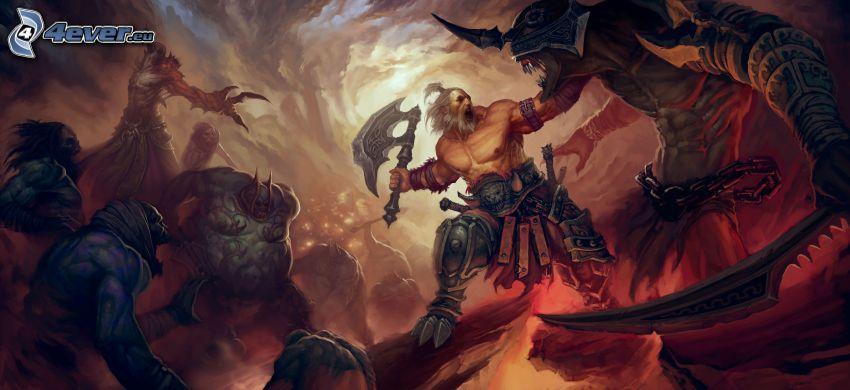 Diablo 3, fantasy warrior