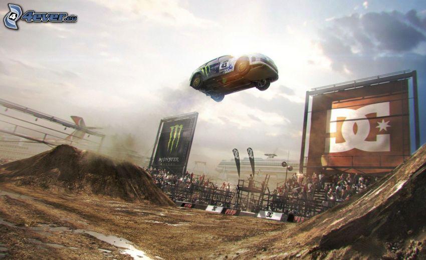 Dirt, racing car, jump