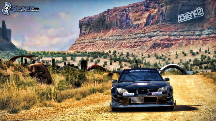 Dirt 2, Subaru Impreza, landscape, cliff