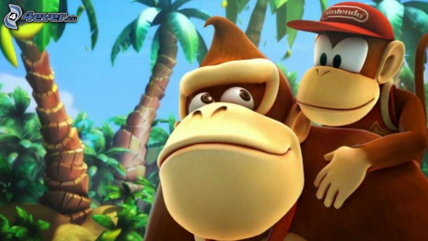 Donkey Kong Country Returns, gorilla, palm trees