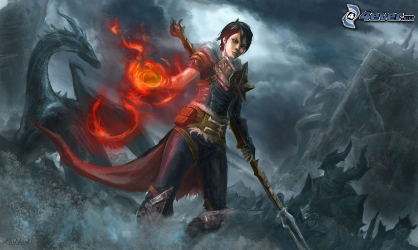 Dragon Age: Origins, fantasy fighter, black dragon