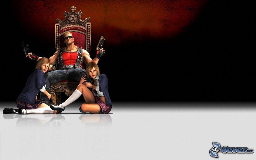 Duke Nukem Forever, man with a gun, throne