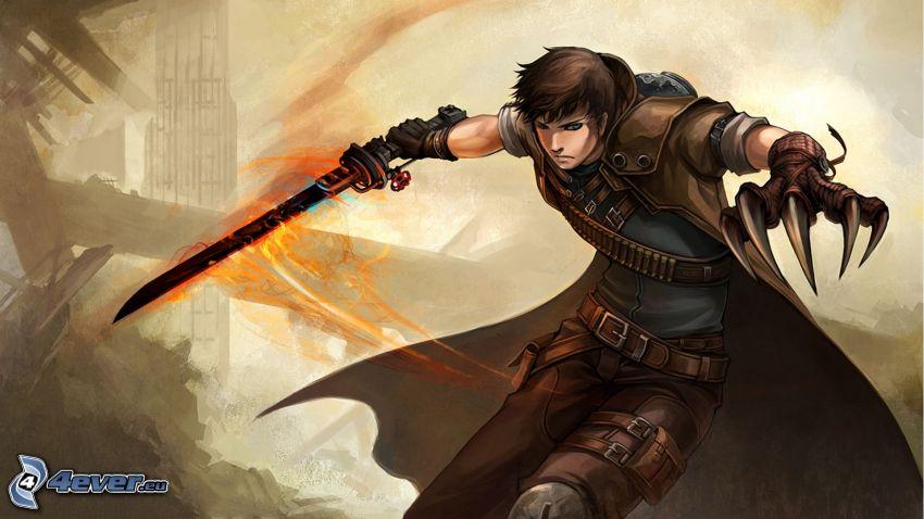 Fallout 3 - Wasteland, cartoon warrior, fire