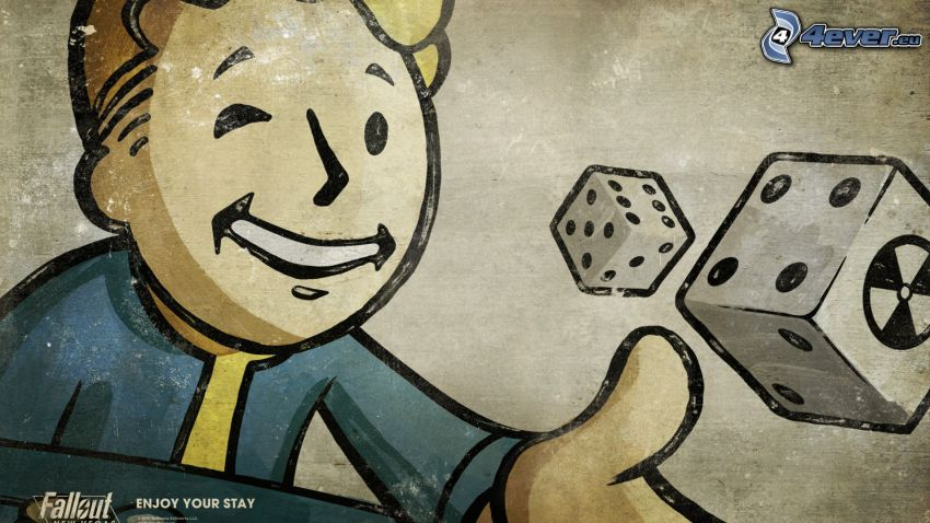 Fallout: New Vegas, cartoon boy, dices