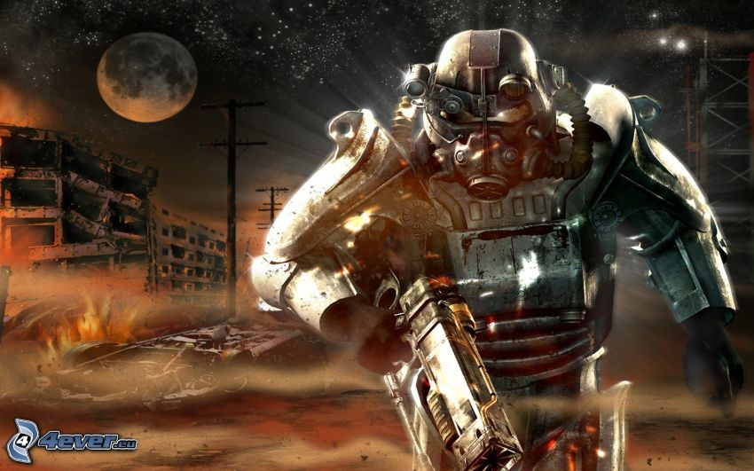 Fallout: New Vegas, night, sci-fi soldier