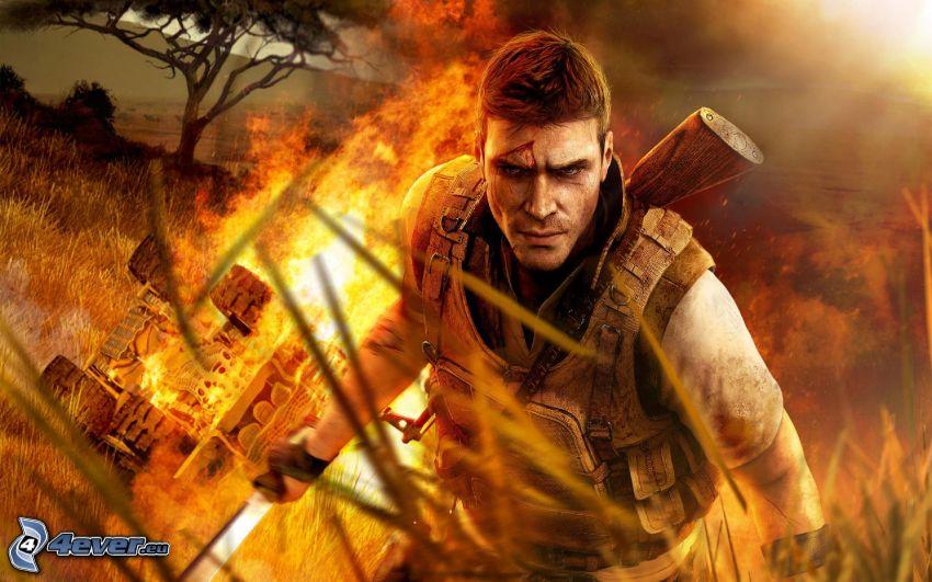 Far Cry 2, burning car