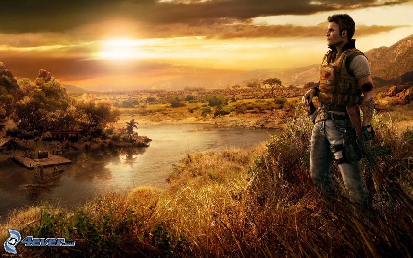 Far Cry 2, sunset, man with a gun, view of the landscape