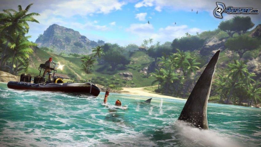 Far Cry 3, shark, lagoon, jungle