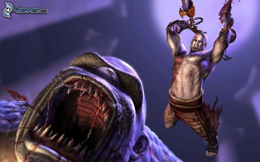 God of War 2, warrior, monster, scream